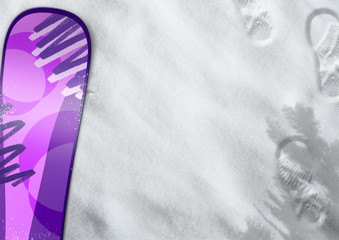 Snowboard in the snow