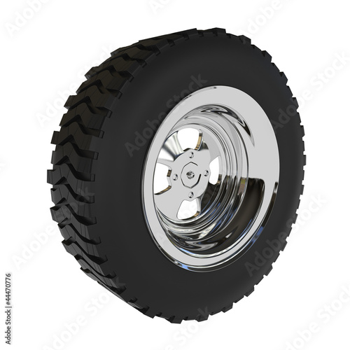 Off-road Car Wheel isolated on white