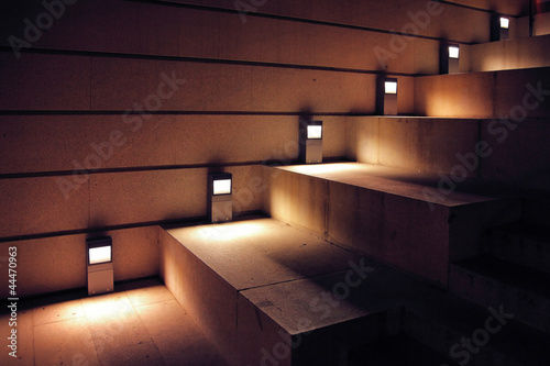 canvas print picture illuminated stairs