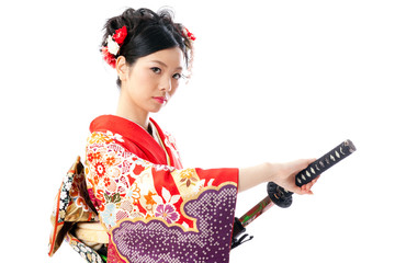 japanese kimono woman with japanese sword