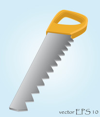 isolated sharp metal handsaw tool vector