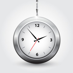 The silver modern clocks. Vector illustration