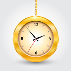The gold modern clocks. Vector illustration