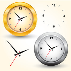 The gold and silver modern clocks. Vector illustration