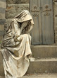 grief, tombstone on monumental cemetery in Florence, Italy, Euro