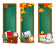 Banners with school supplies and autumn leaves
