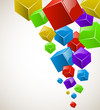 Colorful cubes stream vector background