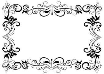 Black and white floral vector frame isolated