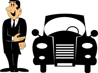 car salesman cartoon in retro style silhouette