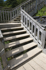 Wooden staircase outside