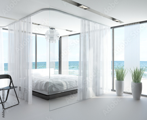 Amazing Bedroom with White Bed with Sea View