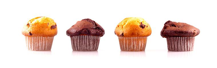 Muffins in einer Reihe