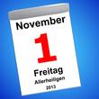 Leinwandbild Motiv Kalender auf blau - 01.11.2013 - Allerheiligen