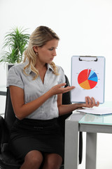 Businesswoman presenting a pie chart