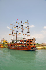 shipyard on river Manavgat in Turkey