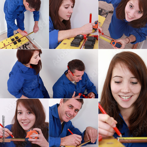 Montage of two plumbers preparing to cut pipe