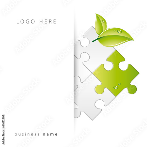 Abstract logo puzzle with folder , vector