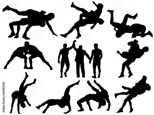 Wrestlers and referee silhouettes on white background - 44482318