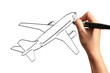 Male Hand drawing airplane