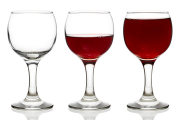 Three glasses empty, half and full of red wine isolated on white