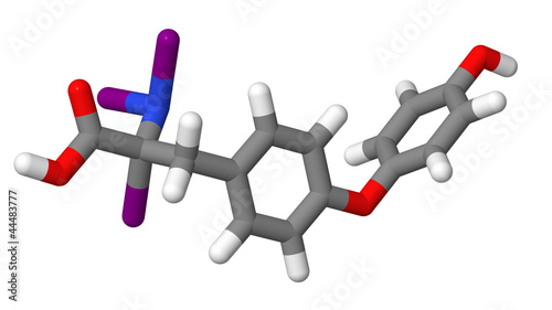 Triiodothyronine (T3) sticks molecular model