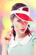 Retro girl in red sun visor