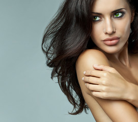 Portrait of delicate brunette woman