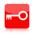 Red key button isolated on white background