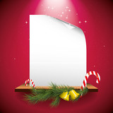 Red Christmas greeting card with empty paper on the shelf