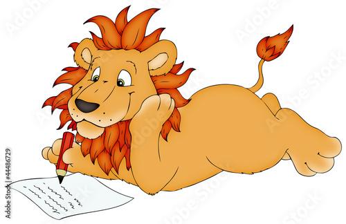 Löwe, schreiben, Brief, Hausaufgaben