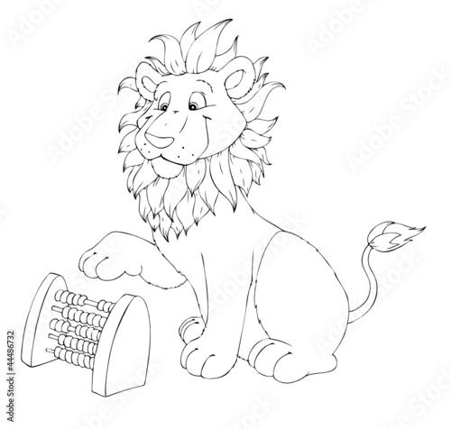 Löwe, rechnen, Mathe, Hausaufgaben