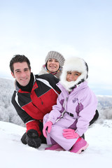 family at ski resort