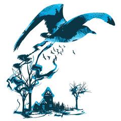 oiseau, envol, forêt, art, arbre, maison, habitation
