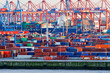 canvas print picture - Containerterminal im Hamburger Hafen