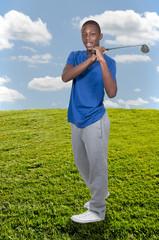 Black Teenage Golfer