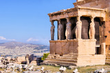 Ancient Porch of the Caryatids overlooking Athens poster