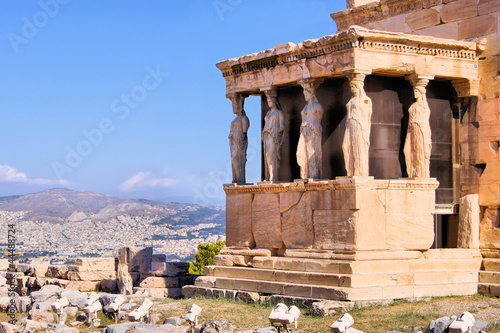 Plexiglas Athene Ancient Porch of the Caryatids overlooking Athens