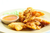 Fried  slough crab with starch eat with chili syrup poster
