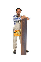 Workman standing with flooring