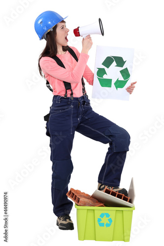 Eco-friendly tradeswoman yelling into a megaphone