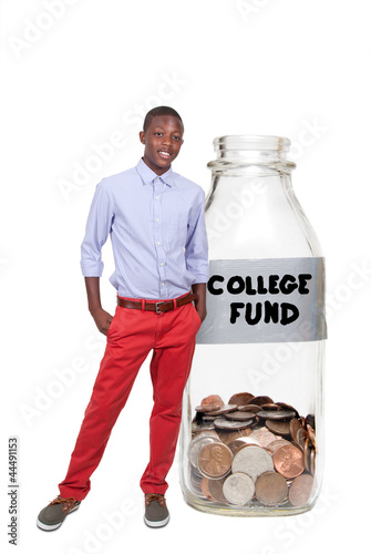 Boy Holding Her College Fund