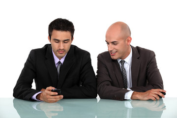 two businessman having a pleasant conversation