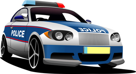 Police car. Municipal transport. Vector illustration.