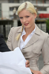 Blond woman wearing suit