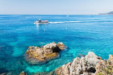 Motorboat in sea near Costa Brava
