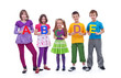 Young school children holding A B C letters