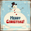 Vector Christmas background with a large snowman.