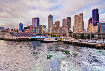 The Seattle downtown view from Ferry