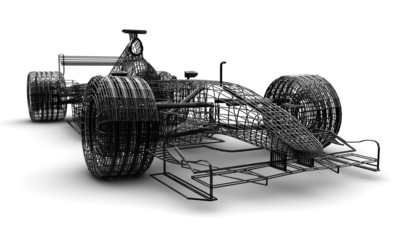 Wireframe formula 1 car