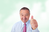 Friendly businessman encouraged to agree poster
